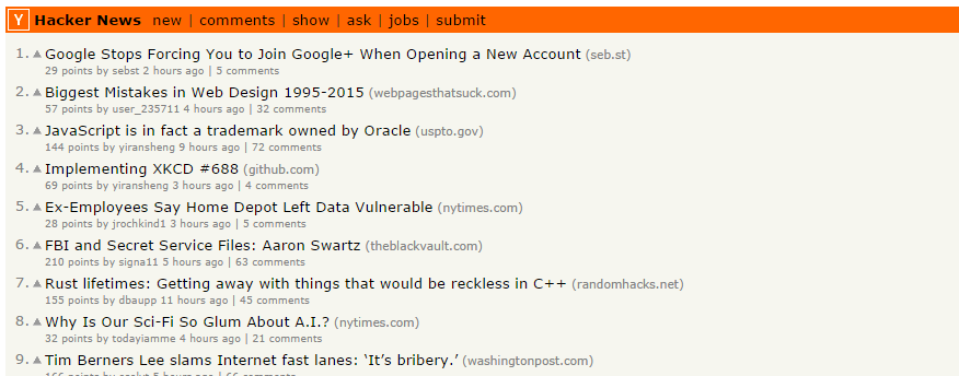 screen short of this blog on position one in hacker news